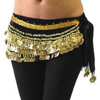 Belly Dancing Deluxe Velvet Hip Scarf - Black w/Gold Coins