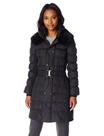 Via Spiga Women's Belted Down Coat with Slimming Side
