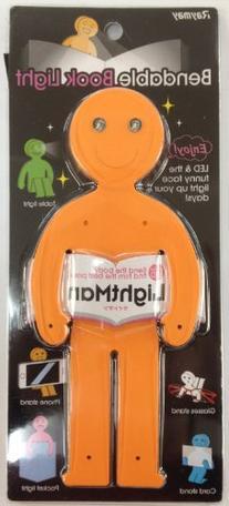 LightMan Bendable Book Light & Stand - Smiley Orange