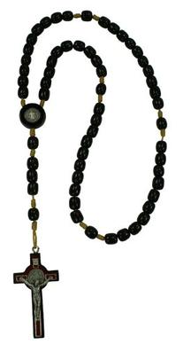 Saint St Benedict Black Wooden Rosary Necklace with 2.5""
