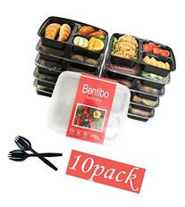10 Pack 3 Compartment Meal Prep Food Storage Containers with