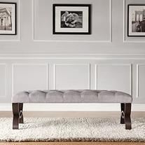 Inspire Q Bentwood Leg Bench - Gray Linen - 48 in