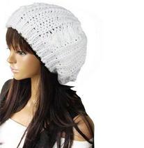 WAWO Women Beret Braided Baggy Beanie Crochet Knitting Warm