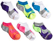 Gold Toe Big Girls' 6 Pack Athletic Swirl Liner, Multi,