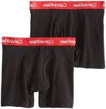 Calvin Klein Big Boys' Assorted 2 Pack Boxer Briefs, Black,