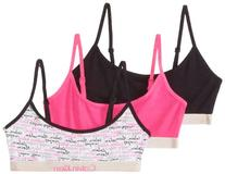 Calvin Klein Big Girls' 3 Pack Fashion Crop Bras, Black/Pink