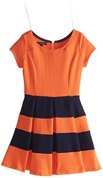 My Michelle Big Girls' Dress with Solid Bodice and Stripe
