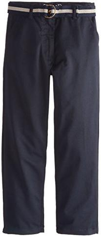 Eddie Bauer Big Boys Flat Front Belted Twill Pant, Navy, 14