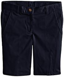 Izod Big Boys' Flat Front Uniform Short, Navy, 14 Husky