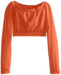 Malibu Sugar Big Girls' Long Sleeve Cropped Tee, Neon Orange