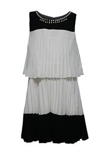 My Michelle Big Girls' Black and Ivory All Over Pleated