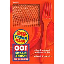 Amscan Big Party Pack 100 Count Mid Weight Plastic Forks,