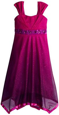Speechless Big Girls' Shimmer Dress with Ribbon Hem, Berry/