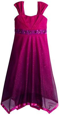 Speechless Big Girls' Shimmer Dress with Ribbon Hem, Berry/