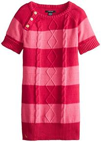 Nautica Big Girls' Stripe Cable Dress with Roll-Cuff Raglan