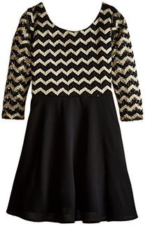My Michelle Big Girls' Swing Dress with Chevron Stripe Top