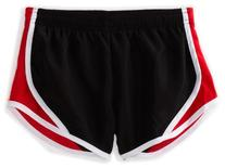 Soffe Big Girls' Team Shorty Short, Black/Red, Medium