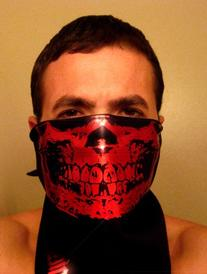 BIKERS RED SKULL BANDANA FACE MASK 22 X22