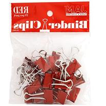 JAM Paper Binder Clips - Small - 19mm - Red Binderclips - 25