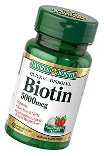 Natures Bounty Biotin Quick Dissolve Tablets, 5000 mcg, 45