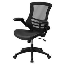 Mid-Back Black Mesh Swivel Task Chair with Leather Padded