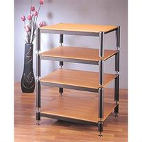 BL Series 4-Shelf Audio Rack Shelves: Black, Poles/Caps: