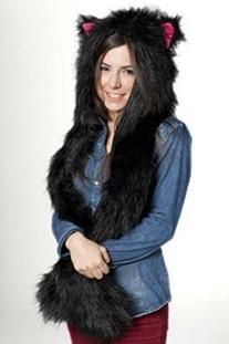 Black Cat Full Hood Animal Hat Hoods with Mittens Gloves
