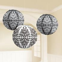 Black Damask Paper Lanterns Party Accessory