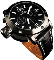 YouYouPifa® Sport Style Black Dial Leather Strap Men's