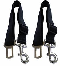 Lanyarco® Black Dog Seatbelt Tether Seat Belt Pet Clip, 2