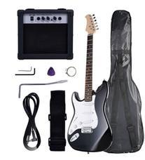 Polar Aurora Full Size Black Electric Guitar + 10 W Amp +