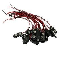 20 Pcs Black Faux Leather Housing T Type Wired 9V Battery