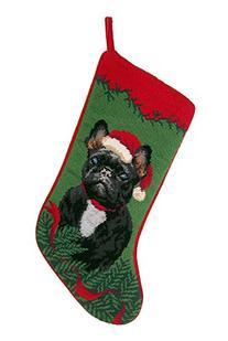 Black French Bulldog Dog Needlepoint Christmas Stocking