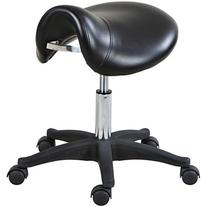 """Icarus """"Rodeo"""" Black Hydraulic Salon Rolling Saddle Chair"""