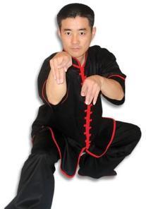 Black Kungfu Uniform with Red Interloop Top