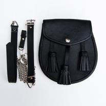 Black Leather Day Sporran with 3 Tassles and Belt