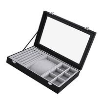 SONGMICS Black Leather Jewelry Box Display Tray Show Case