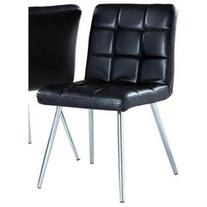 Monarch Specialties Black Leather-Look & Chrome Metal Dining
