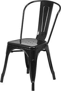 Flash Furniture Metal Stackable Dining Chair in Black