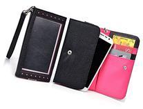 Black/Neon Pink Window Wristlet Wallet Case for HTC One M7