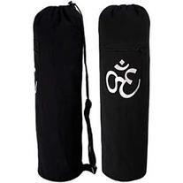 YogaAccessories Black OM Cotton Yoga Mat Bag - Drawstring