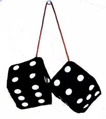 1 Pair Large Black 3 Inch Plush Fuzzy Soft Dice - Great for
