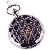 Black Pocket Watch Steampunk Skeleton Mechanical Movement