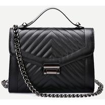 Black Quilted Envelope Bag With Chain