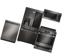 4-Piece Black Stainless Steel Kitchen Package with