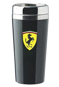 Ferrari Black Stainless Steel Travel Mug w/ Shield Logo