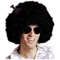 Adult Sized Black Super Afro Wig Frizzy 70s Fro With Hair Pick
