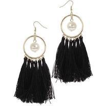 Miss Selfridge Black Tassel And Pearl Drop Earrings