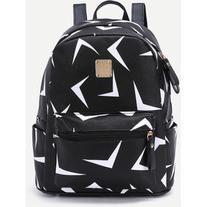Black Triangle Print Metal Embellished Zip Pocket Backpack