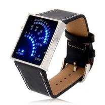 Black LED Sports Watch Unisex Faux Leather Band Blue Backlit